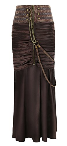 Charmian Women's Steampunk Gothic Victorian Ruffled Satin High Waisted Skirts Brown XX-Large