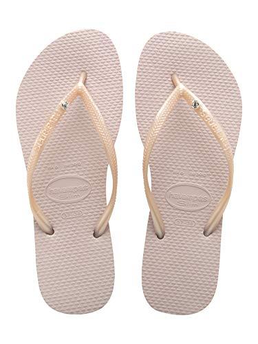 Havaianas Women's Slim Crystal Glamour Sw Flip Flop Sandal,Rose, 41/42 BR(11-12 M US Women's / 9-10 M US Men's) (Havaianas Pink)