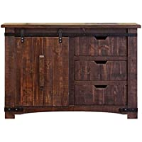 Anton Natural Finish 50 Rustic Sliding Barn Door Console