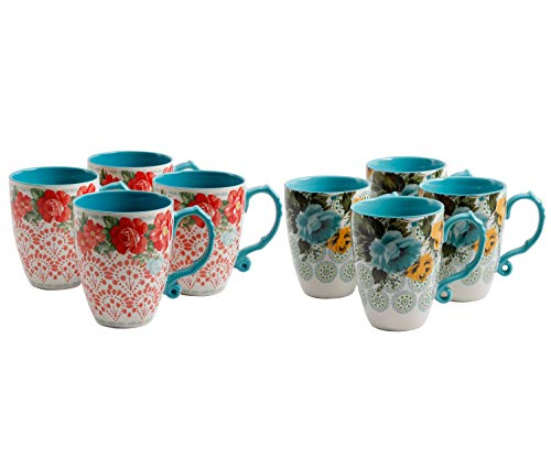 - The Pioneer Woman Vintage Floral 26-Oz Jumbo Latte Mug Set, Set of 4 bundle with The Pioneer Woman Rose Shadow Jumbo 26-Oz Latte Mug Set, Set of 4
