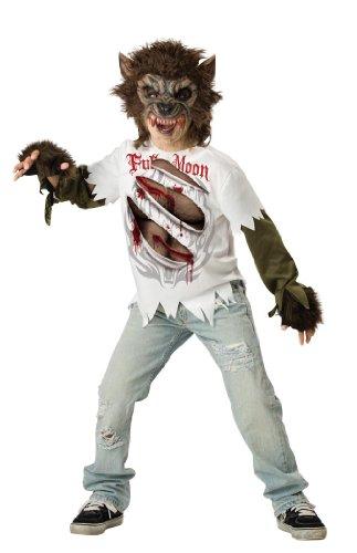 InCharacter Costumes, LLC Boys Werewolf Mask and Shirt Set, Multi Color, (Werewolf Costume Halloween Express)