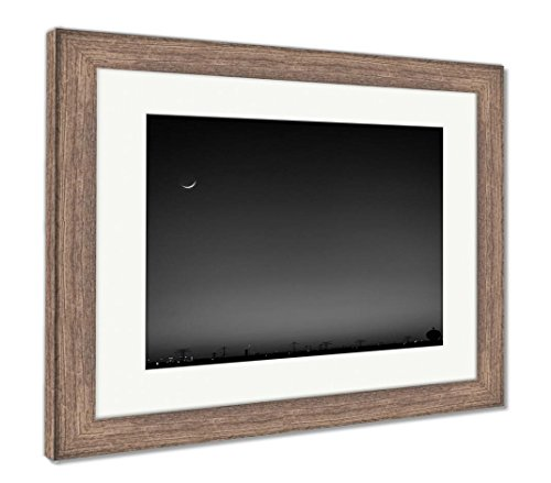Ashley Framed Prints North Houston Texas Sunset And Moonrise With Power Line Silhouette, Wall Art Home Decoration, Black/White, 26x30 (frame size), Rustic Barn Wood Frame, (Cresent Silhouette)