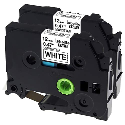 Labelife Compatible TZe Tape 12mm 0.47 Laminated Black on White TZe-231 TZe 231 Compatible P-touch PT-D210 PT-H100 PTD400AD PT-P1280 PTD600 PT-1230PC Labeling Maker, 26.2 ft (8m), 2 Pack
