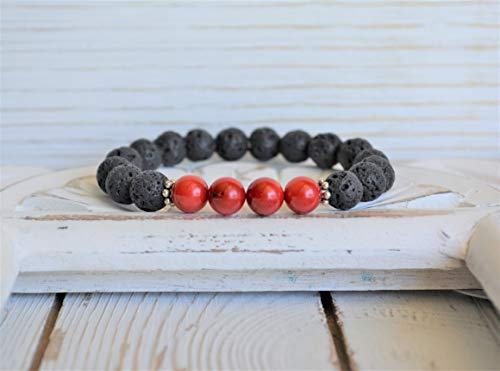 Lava Rock Stone Diffuser Bracelet with Red Dyed Bamboo ()
