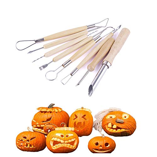 Pumpkin Carving Tools,Lovewe 8PCS Pumpkin Carving Tools,Halloween Sculpting Kit with 6 Double Sided Pieces ()
