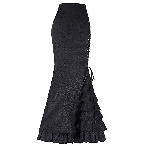 POQOQ Skirt Women Punk Style Retro Mermaid Skirt Vintage Long Bodycon Ruffle Fishtail M Black]()
