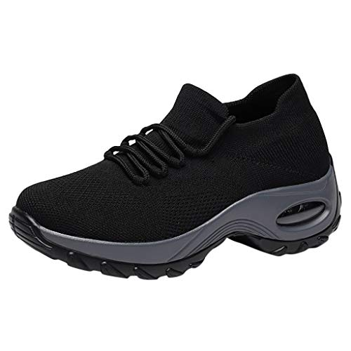 - Haalife◕‿ Women's Walking Shoes Sock Sneakers - Mesh Slip On Air Cushion Lady Girls Modern Jazz Dance Easy Platform Shoes Black