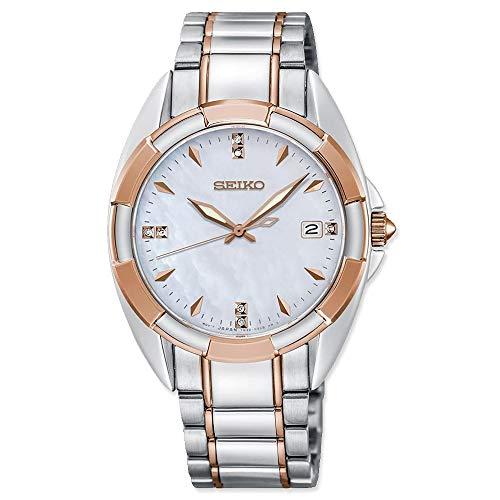 Seiko Women's Diamond 33.3mm Two Tone Steel Bracelet Steel Case Quartz MOP Dial Analog Watch SKK888P1