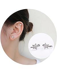 Sterling Silver Stud Earrings Sparkling Bling Rhinestone Inlaid Star Non Pierced Ear Clip on Cuff