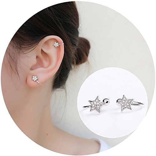 Aifeer Sterling Silver Stud Earrings Sparkling Bling Rhinestone Inlaid Star Non Pierced Ear Clip on Cuff (A Pair)