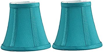 Urbanest Set of 2 Teal Silk Bell Chandelier Lamp Shade, 3 inch by 5 inch by 4.5 inch, Clip on