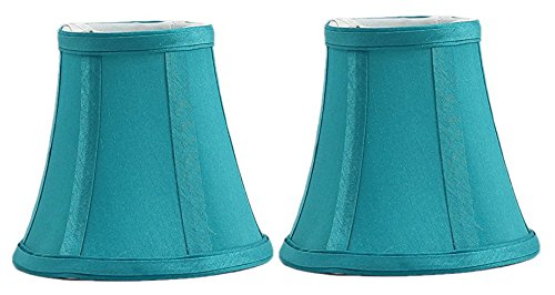 (Urbanest Set of 2 Teal Silk Bell Chandelier Lamp Shade, 3-inch by 5-inch by 4.5-inch, Clip-on)