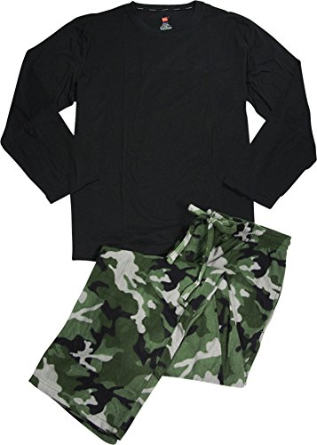 Hanes Mens Long Sleeve Crew and Camo Microfleece Pant Pajama Set, Black, Green (Mens Microfleece Long Sleeve)