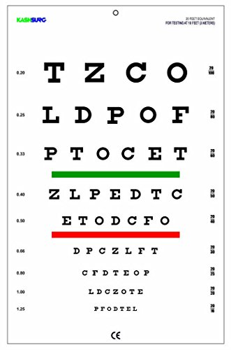 Snellen Chart with Red Green Lines 10 Feet (Chart Eye Distance)