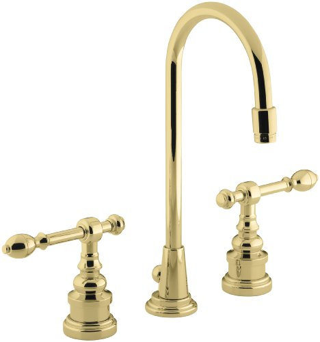 KOHLER K-6813-4-PB IV Georges Brass Widespread Lavatory Faucet, Vibrant Polished Brass