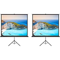 2 Pack Projector Screen, TaoTronics Indoor and Outdoor Movie Screen 100 Inch Diagonal with a Premium PVC Matte Design (Wrinkle-Free, Easy to Clean, 1.1 Gain, 160 Degree Viewing Angle)