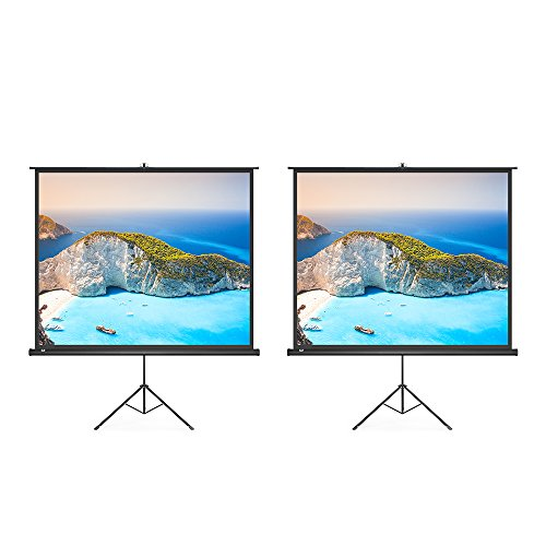 2 Pack Projector Screen, TaoTronics Indoor and Outdoor Movie Screen 100 Inch Diagonal with a Premium PVC Matte Design (Wrinkle-Free, Easy to Clean, 1.1 Gain, 160 Degree Viewing Angle) by TaoTronics