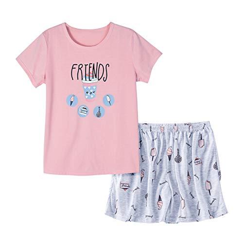 Cute Big Girls Summer Pajamas Set Lovely Rabbit Cotton Soft Pink Bunnies Shorts Sleepwear Set Size 12-18 (XXL=Size18, Pink Cream)