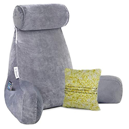 Bed Rest Pillow with Arms and Pockets Back Support Cushion for Adults Reading Watching TV Reading Pillow Gaming Relaxing Large Shredded Foam Reading Pillow with Neck Roll