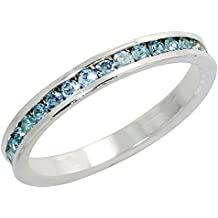 """Sterling Silver Stackable Eternity Band, March Birthstone, Aquamarine Crystals, 1/8"""" (3 mm) wide"""