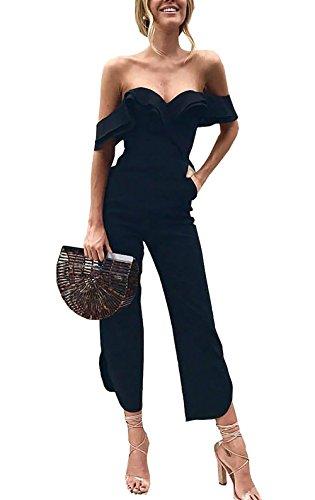 PRETTYGARDEN Womens Backless Off Shoulder Tiered Ruffle High Waist Jumpsuit Romper Split Casual Overall