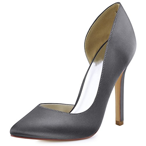 Satin ElegantPark Grey Heel D'Orsay Toe Dress Pumps Pointed High Women's Steel ZqZrY