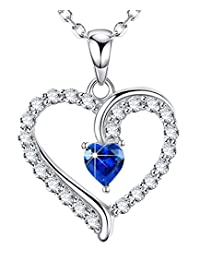 September Birthstone Jewelry Love Heart Pendant Necklace Blue Sapphire Gifts for Wife for Women for Her Sterling Silver