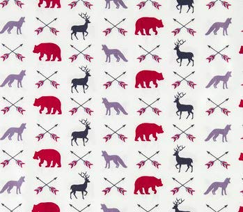 Fitted Crib Sheet in The Woods red, Gray, Black by Twig + Bird - Handmade in America