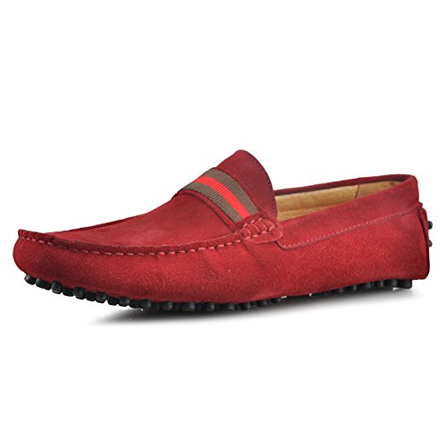 Santimon Mens Confortable Bande Cuir Véritable Conduite Mocassins Loafer Doug Chaussures Rouge