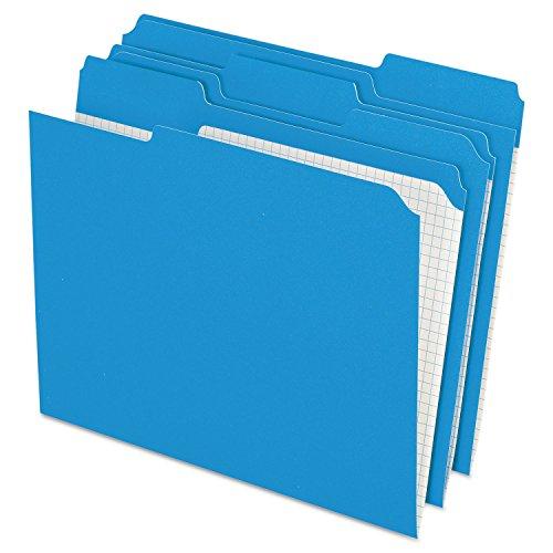 Interior Grid File Folders, Top Tab, 1/3 Cut/Assorted, Blue, Letter, 100/Box (ESSR15213BLU)