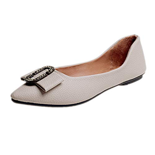 Women Ladies Solid Pointed Toe Flat Heel Casual Loafers Single Shoes Duseedik