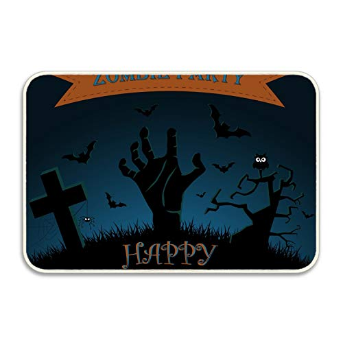 Ranhkdn Funny Halloween Zombie Party Poster Doormat Decorative Floor Mat Kitchen,Bathroom Rug Non Slip -