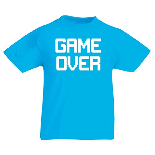 Funny t shirts for kids GAME OVER! Vintage t shirts funny gamer gifts gamer shirt (9-11 years Light Blue White)