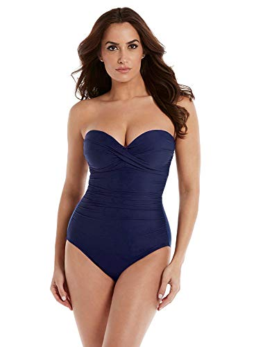 - Miraclesuit Women's Swimwear Solid Madrid Tummy Control Straples One Piece Swimsuit, Midnight, 8