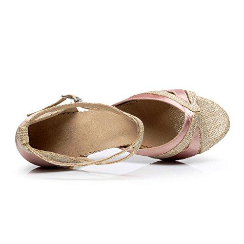 Bcln Mujeres Open Toe Sandals Latin Salsa Tango Heels Practice Ballroom Zapatos De Baile Con 2.75 Heel Pink
