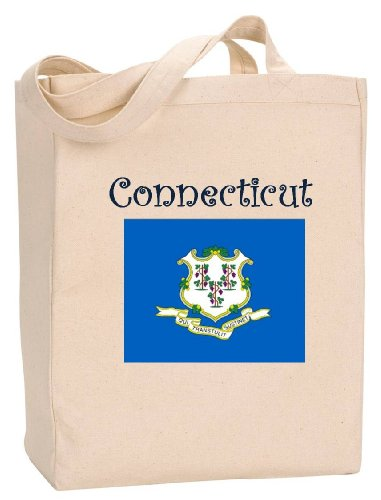 CONNECTICUT - FLAG - State Series - Natural Canvas Tote Bag with - Shopping Connecticut Stamford