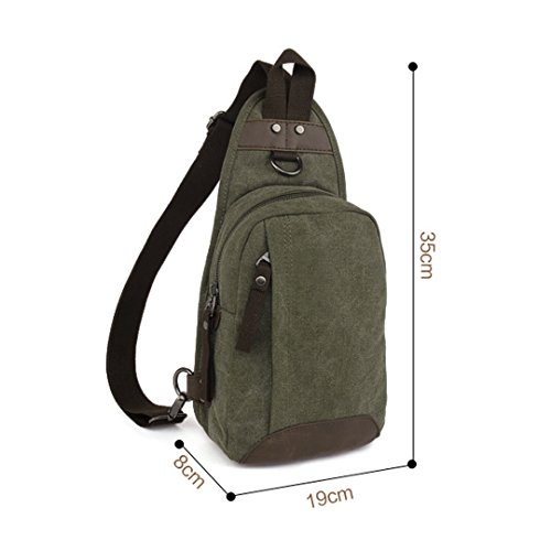35 pecho moda Verde de la de 8 bolso hombre de Paquete lona x L H Wewod W la cm paquetes retro la coreano 19 x TpSnFvdTq