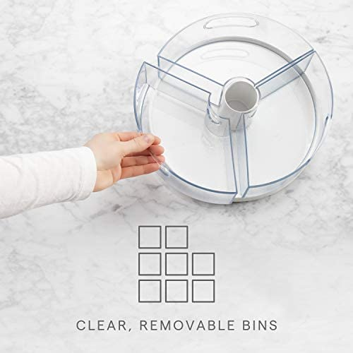 """41jSwDbl1KL. AC YouCopia Crazy Susan Kitchen Cabinet Turntable and Snack Organizer with Bins    YouCopia's crazy Susan 11"""" turntable with bins is a smooth-spinning lazy Susan that doesn't sweat (or hide) the small stuff. Easily organize the little things that often clutter a kitchen, pantry, closet, office or bathroom. This cabinet helper features three individual bins with handles, so you can remove an entire bin to quickly grab something, and then pop it back on the turntable when finished. Spin and see what you need with clear acrylic bins. Stainless steel Ball bearings provide smooth 360 degree rotation. Made of durable, BPA-free plastic with soft, non-slip feet to keep it all in place. No installation or assembly required. Simply throw items into bins and call it a win. Measures 10.4"""" d x 10.4"""" W x 4.1"""" H (26, 4 x 26, 4 x 10, 4 centimeters). YouCopia is that feeling of triumph over small stuff. No one likes the hassle of a messy home, so our products keep items organized just the way you want. Go ahead, """"woo Hoo"""" when everything is right where it should be."""