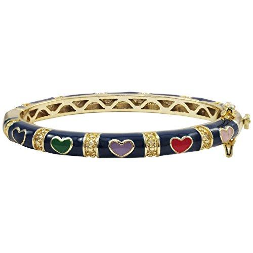 Ivy and Max Gold Finish Navy Blue Enamel Multi Hearts Girls Bangle Bracelet (42 mm: age 1-6 (Enamel Multi Heart)