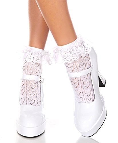 Music Legs Opaque Anklet with Ruffled Lace Top (White Heart) (Pink Heart Socks White)