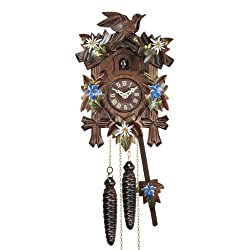 Quartz Cuckoo Clock with Music and Hand Painted Edelweiss & Gentian, 9 Inch