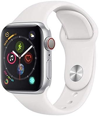 Apple Watch Series 4 (GPS + Cellular) con caja de 40 mm de aluminio en plata y correa deportiva blanca