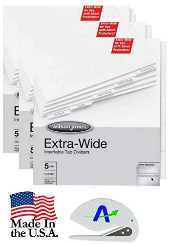 Value Bundle 3 Sets Wilson Jones Extra Wide Oversized Insertable Tab Dividers, 5-Tab Set, Clear Tabs, with Bonus AdvantageOP Letter Opener (55206) ()