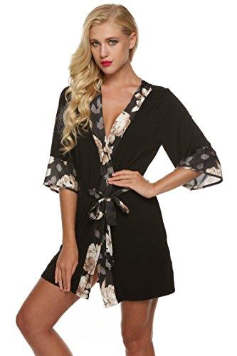 Ekouaer Womens Sleepwear Kimono Short Robe Lounging Wear Dressing Gown (Black, Small)