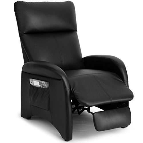 LANGRIA Premium Recliner Chair Padded Contemporary for Living Room Home or Office, Faux Leather Sofa with Side Pocket for Home or Office, Full Extension Recliner, 200 lbs Weight Capacity, Black