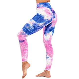 High Waisted Yoga Pants for Women, Ruched Butt Lift Workout Leggings, Tummy Control Slimming Scrunch Booty Sport Tights (Purple, L)