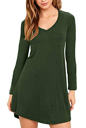 - Eanklosco Womens Casual Short Sleeve Plain Pocket V Neck T Shirt Tunic Dress (Green-1, S)