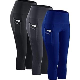 Neleus 3 Pack Workout Running Capris Tummy Control High Waist Yoga Leggings Yoga Pants,9027,Black,Grey,Blue,XL,EU 2XL