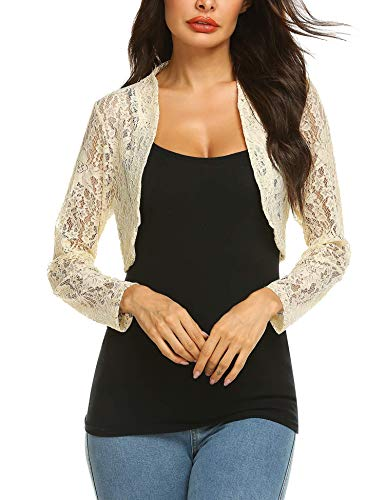 - Grabsa Women's 3 4 Sleeve Lace Shrugs Bolero Cardigan Crochet Sheer Crop Jacket Apricot