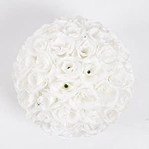 10 Pack Romantic Rose Pomander Flower Balls Rose Bridal for Wedding Bouquets Artificial Flower DIY White By Ben Collection 3
